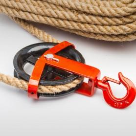 125mm Seilrolle mit drehbarem Haken - Seilblock - Umlenkrolle