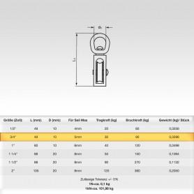 3/4 Zoll Seilrolle mit drehbarer Öse - Seilblock - Blockseilrollen vernickelt