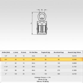 3/4 Zoll Seilrolle Doppelt mit drehbarer Öse - Seilblock - Blockseilrollen vernickelt