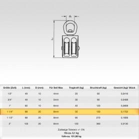 1 1/4 Zoll Seilrolle Doppelt mit drehbarer Öse - Seilblock - Blockseilrollen vernickelt