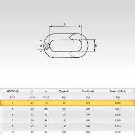 4mm Notglied - Schnellverschluss für Stahlketten - Kettenverbinder
