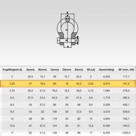 3,25t Hochfest Schäkel geschweift mit Sicherungsbolzen - Rundschäkel Verbinder - Tragfähigkeit 3250kg