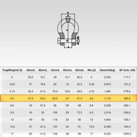 6,5t Hochfest Schäkel geschweift mit Sicherungsbolzen - Rundschäkel Verbinder - Tragfähigkeit 6500kg