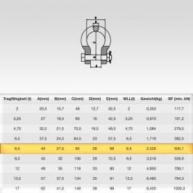 8,5t Hochfest Schäkel geschweift mit Sicherungsbolzen - Rundschäkel Verbinder - Tragfähigkeit 8500kg