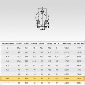 13,5t Hochfest Schäkel geschweift mit Sicherungsbolzen - Rundschäkel Verbinder - Tragfähigkeit 13500kg