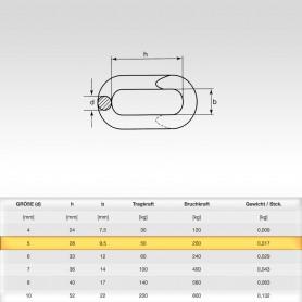 5mm Notglied - Schnellverschluss für Stahlketten - Kettenverbinder