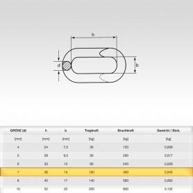 7mm Notglied - Schnellverschluss für Stahlketten - Kettenverbinder