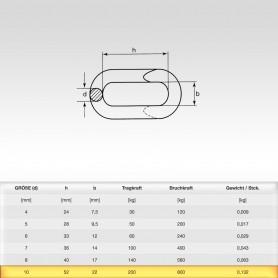 10mm Notglied - Schnellverschluss für Stahlketten - Kettenverbinder