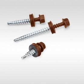 4,8 x 25mm Trapezblechschrauben RAL 8017 - Schokoladen-braun Selbstbohrende Schrauben für Holzunterkonstruktionen mit EPDM