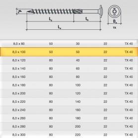 8 x 100mm Tellerkopfschrauben - Holzbauschraube Tellerkopf TX Antrieb (ab 50 Stück)