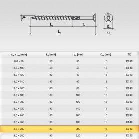 8 x 280mm Senkkopfschrauben - Holzbauschraube Senkkopf TX Antrieb (ab 100 Stück)