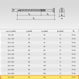 8 x 300mm Senkkopfschrauben - Holzbauschraube Senkkopf TX Antrieb (ab 100 Stück)