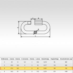 6mm Schraubglieder Edelstahl - Schnellverschluss für Stahlketten AISI316 INOX316 - Kettenverbinder