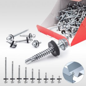 Blechbohrschrauben für Metalluntergrund mit EPDM Dichtscheibe 200 bis 2000 Stück
