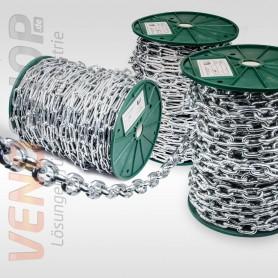 4mm Stahlkette verzinkt langgliedrig Rundstahlkette Eisenkette (Meterware: 1m - 60m)