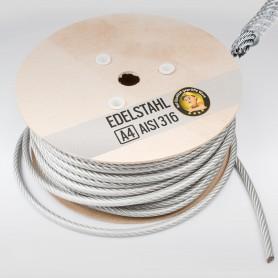 4mm Edelstahlseil PVC ummantelt 3/4mm - 5 bis 250m Drahtseil INOX AISI316 Stahlseil Edelstahl