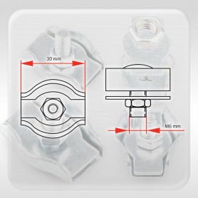 6mm Drahtseilklemme Simplex - verzinkt Klemmen für Drahtseil 6mm