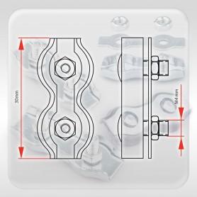 2mm Drahtseilklemme Duplex - verzinkt Klemmen für Drahtseil 2mm
