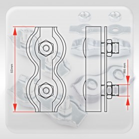 6mm Drahtseilklemme Duplex - verzinkt Klemmen für Drahtseil 6mm