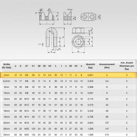5mm Sicherheits-Drahtseilklemme Bügel EN 13411-5 - Klemmen für Drahtseil 5mm