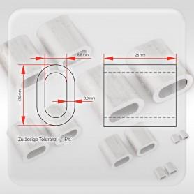 8mm Aluminium Pressklemmen - Presshülsen für Drahtseil 8mm (ab 5 stück)