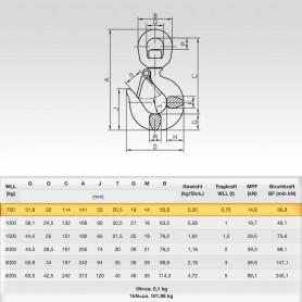 0,75t Wirbelhaken mit Sicherungsfalle WLL 750kg