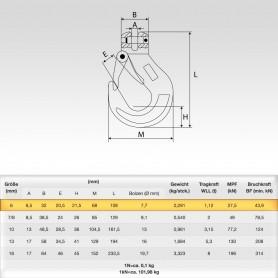 6mm Gabelkopfhaken WLL 1,12t - 1120kg Güteklasse 8