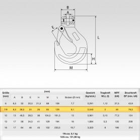 7/8mm Gabelkopfhaken WLL 2t - 2000kg Güteklasse 8