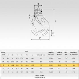 10mm Gabelkopfhaken WLL 3,15t - 3150kg Güteklasse 8