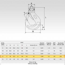13mm Gabelkopfhaken WLL 5,3t - 5300kg Güteklasse 8
