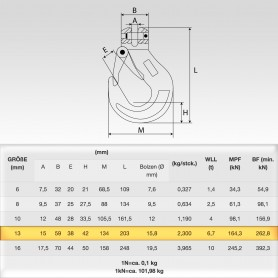 10mm Gabelkopfhaken WLL 4t - 4000kg Güteklasse 10