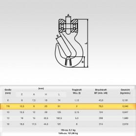 7/8mm Parallelhaken WLL 1,12t - Verkürzungshaken mit Gabelkopf  - 2000kg Güteklasse 8