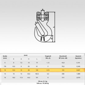 10mm Parallelhaken WLL 3,15t - Verkürzungshaken mit Gabelkopf  - 3150kg Güteklasse 8