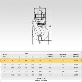 6mm Parallelhaken mit Sicherung WLL 1,12t - Verkürzungshaken mit Gabelkopf  - 1120kg Güteklasse 8