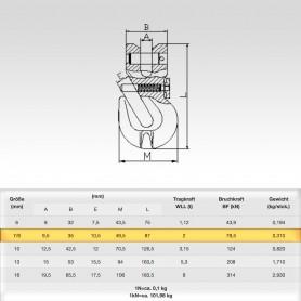 7/8mm Parallelhaken mit Sicherung WLL 2t - Verkürzungshaken mit Gabelkopf  - 2000kg Güteklasse 8