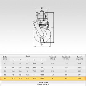 16mm Parallelhaken mit Sicherung WLL 8t - Verkürzungshaken mit Gabelkopf  - 8000kg Güteklasse 8