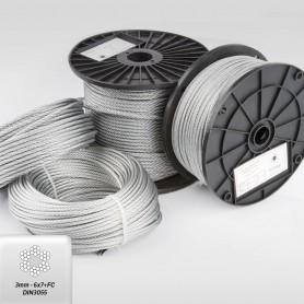 Drahtseil 3 mm (6x7+FC) 5m bis 200m DIN 3055 Stahlseil verzinkt 3 mm