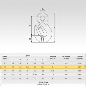 7/8mm Parallelhaken mit Öse WLL 2t - Verkürzungshaken mit Öse  - 2000kg Güteklasse 8
