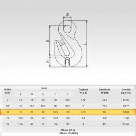 10mm Parallelhaken mit Öse WLL 3,15t - Verkürzungshaken mit Öse  - 3150kg Güteklasse 8