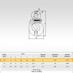 7/8mm Parallelhaken mit Öse und Sicherung WLL 2t - Verkürzungshaken mit Öse  - 2000kg Güteklasse 8
