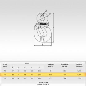 10mm Parallelhaken mit Öse und Sicherung WLL 3,15t - Verkürzungshaken mit Öse  - 3150kg Güteklasse 8