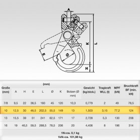 10mm Sicherheitslasthaken mit Gabelkopf WLL 3,15t - 3150kg Güteklasse 8