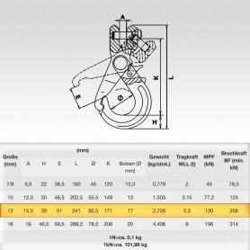 13mm Sicherheitslasthaken mit Gabelkopf WLL 5,3t - 5300kg Güteklasse 8