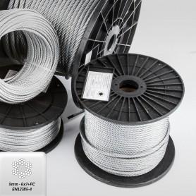 Drahtseil 5mm (6x7+FC) 5m bis 100m EN 12385-4 Stahlseil verzinkt 5 mm