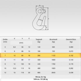 70mm Kettenhaken mit Öse für Ketten 7mm - Traglast - WLL 0,28t - 280kg