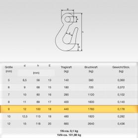 90mm Kettenhaken mit Öse für Ketten 9mm - Traglast - WLL 0,44t - 440kg