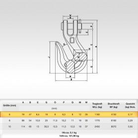 6mm Kettenhaken mit Gabelkopf WLL 1,18t - 1180kg