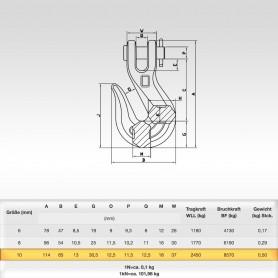 10mm Kettenhaken mit Gabelkopf WLL 2,45t - 2450kg